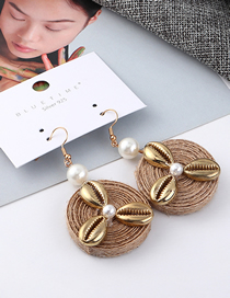 Fashion Gold Alloy Pearl Shell Windmill Earrings