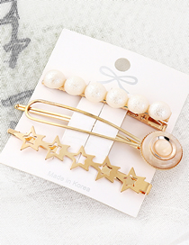 Fashion Gold Alloy Pearl Five Star Hairpin Set