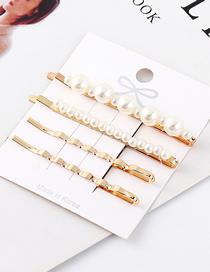 Fashion Gold Alloy Pearl Hair Clip Set
