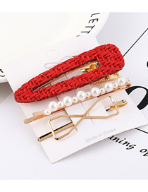 Fashion Red Alloy Pearl Bow Hair Clip Set