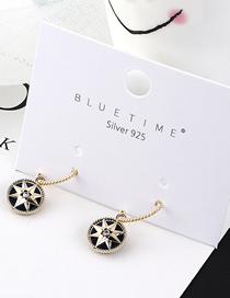 Fashion Dark Blue Plated Gold Sunflower S925 Silver Needle Stud Earrings