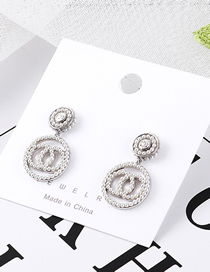 Fashion Platinum Plated Gold Three-ring Cross S925 Silver Needle Stud Earrings