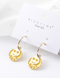 Fashion 14k Gold Plated Gold Love Smile S925 Silver Needle Stud Earrings