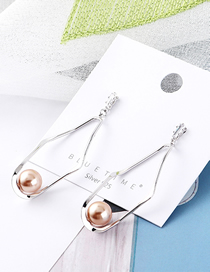 Fashion Platinum+bronze Plated Gold-plated Geometric Pearl S925 Silver Needle Stud Earrings