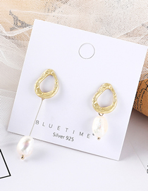 Fashion Gold Asymmetric Pearl S925 Silver Needle Stud Earring