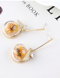 Fashion Gold Plated Gold Leaf S925 Silver Needle Earrings
