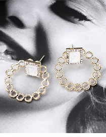 Fashion Gold Plated Gold Circle Cutout S925 Silver Needle Earrings