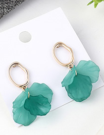 Fashion Green Small Lotus Leaf Earrings