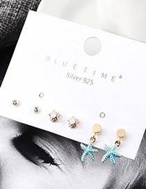 Fashion Gold Plated Gold Starfish S925 Silver Needle Earrings Set