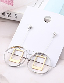 Fashion Gold + Silver Plated Gold Square Circle Hollowed Out S925 Silver Needle Earrings