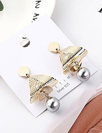 Fashion Gray Plated Gold Mesh Triangle S925 Silver Needle Earrings