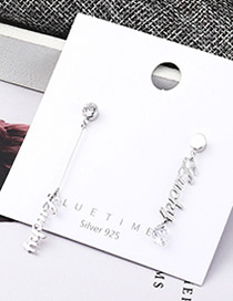 Fashion Platinum Plated Gold Asymmetric Letter S925 Silver Needle Earrings