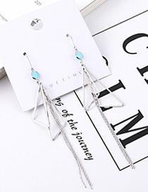 Fashion Platinum Plated Gold Triangle Tassel Earrings