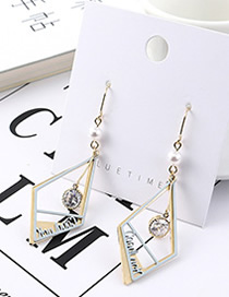 Fashion Blue Plated Gold Letter Cutout Earrings