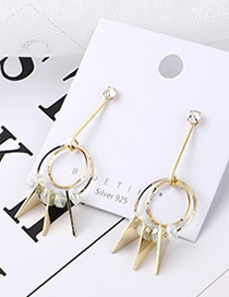 Fashion 14k Gold Plated Gold Cutout Hollow Triangle S925 Silver Needle Earrings