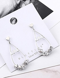 Fashion Platinum Plated Gold Love Letter Cutout S925 Silver Needle Earrings
