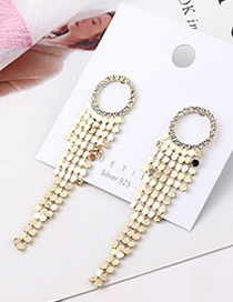 Fashion 14k Gold Plated Gold Small Scales Small Circle S925 Silver Needle Earrings