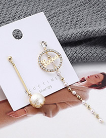 Fashion Gold Plated Gold Asymmetrical Letter Pearl S925 Silver Needle Earrings