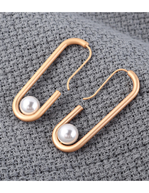Fashion Dumb Gold Plated Gold Cutout Pearl Earrings