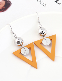 Fashion Coffee Plated Gold Matte Inverted Triangle Earrings