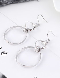 Fashion Platinum Plated Gold Oval Pierced Earrings
