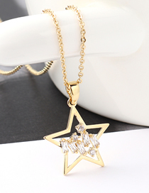 Fashion 14k Gold Star Shimmering Zircon Necklace
