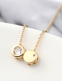 Fashion 14k Gold Copper Plated Gold Zircon Necklace