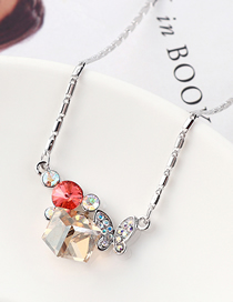 Fashion Water Lotus Red + Golden Phantom Butterfly Crystal Love Crystal Necklace