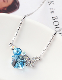 Fashion Sea Blue Butterfly Crystal Love Crystal Necklace