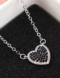 Fashion Platinum + Black Sky Heart Crystal Necklace