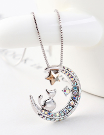 Fashion Golden Phantom Chasing Star Arch Moon Cat Crystal Necklace
