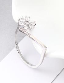 Fashion Platinum Zircon Ring - Flowery