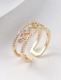 Fashion 14k Gold Zircon Ring - Heartbeat