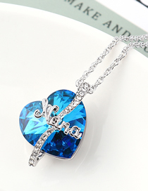 Fashion Blue Light Crystal Necklace - Love Is Eternal