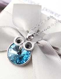 Fashion Sea Blue Crystal Necklace - Staying Owl