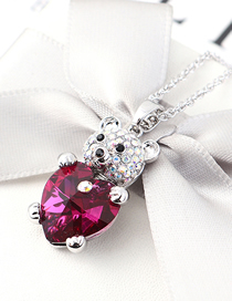 Fashion Purple Crystal Necklace - Bear Heart