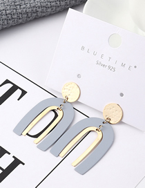 Fashion Gray Plated Gold U-shaped Letter Hollow S925 Silver Needle Stud Earrings