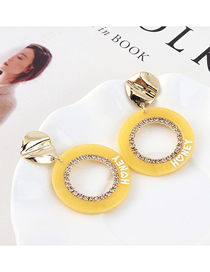 Fashion Light Yellow Plated Gold Letter Cutout S925 Silver Pin Stud Earrings