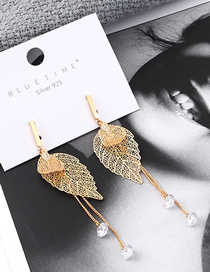 Fashion K Gold Plated Real Gold Tree Leaves Fringed S925 Silver Needle Stud Earrings