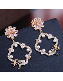Fashion Gold Copper Micro Inlaid Zircon Petal Clover Earrings