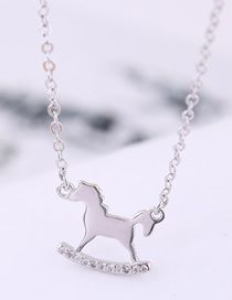 Fashion Silver Copper Plated Gold Horse Necklace