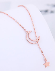 Fashion Gold Copper Plated Gold Star Moon Necklace