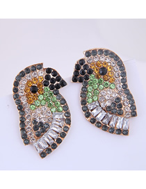 Fashion Color Metal-studded Bird Earrings