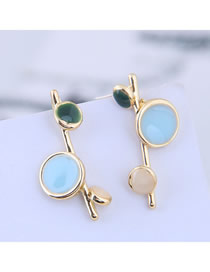 Fashion Blue 925 Silver Needle Resin Color Matching Oil Drop Earrings