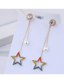 Fashion Gold 925 Silver Needle Flash Drill Five-pointed Star Stud Earrings