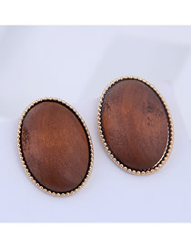Fashion Coffee Color 925 Silver Needle Oval Stud Earrings