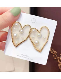 Fashion Gold 925 Silver Needle Transparent Love Pearl Stud Earrings