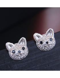 Fashion Silver Inlaid Zircon Cat Earrings