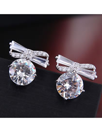 Fashion Silver Bow Inlaid Zircon Stud Earrings