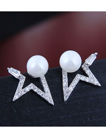 Fashion Silver Meteor Pearl Stud Earrings